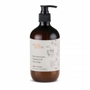 Myrtle & Moss Body Lotion – Rose Geranium, Grapefruit + Clary Sage