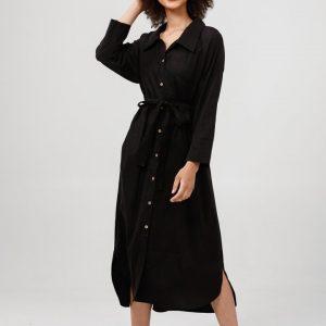 Ines Shirt Dress – Black